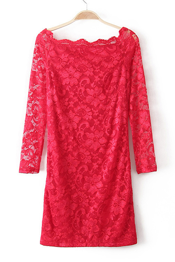 Red Off Shoulder All Over Lace Dress