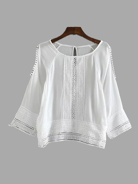 White Cold Shoulder Lace Crochet Paneled Long Sleeve Blouse