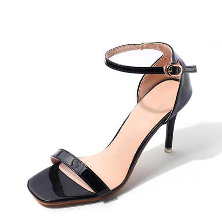 Black Stiletto Sandals with Ankle Strap