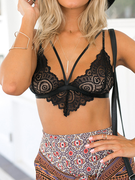 Sexy Lace Hollow Bralet con Nessun Falsies