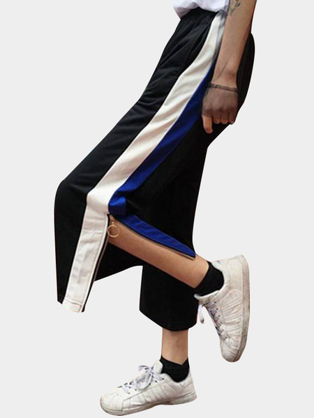 Active Zip Design Side Slit Contrast Color Wide Leg Sports Pants in Black