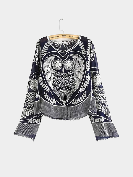 Blue Owl Embroidery Chiffon Blouse