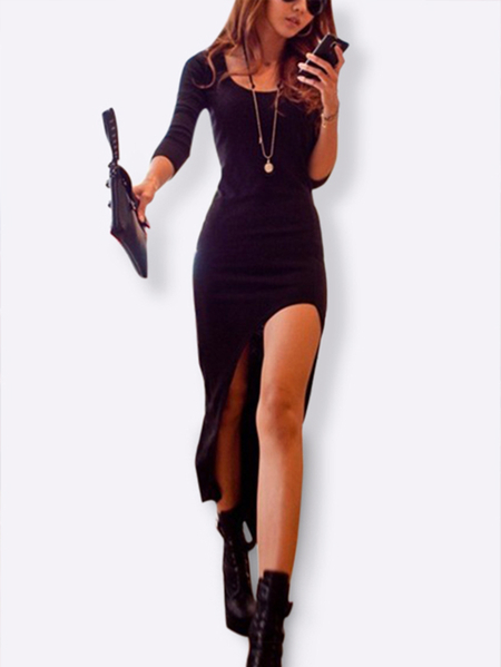 Black Long SleevesThin Dress with High Low Hem