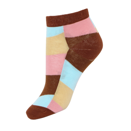 Colorblock Ribbed Ankle Socks with Brown Cuffs