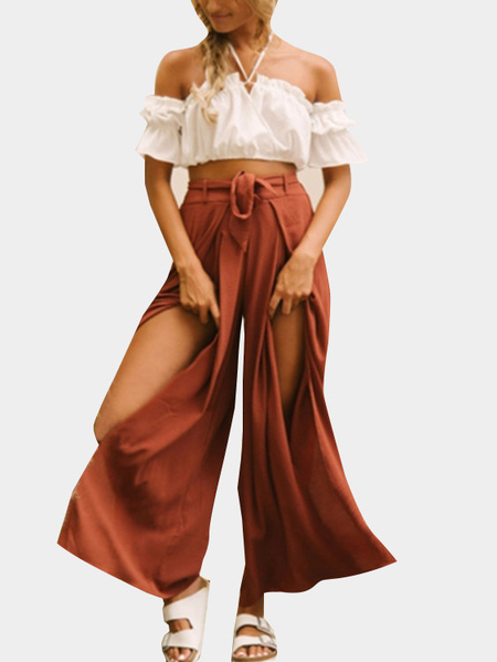 Orange Red Wide Leg Pant With Slit Design