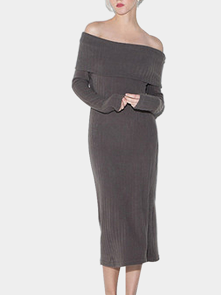 Light Coffee Knitted Long Sleeves Off Shoulder Midi Dress