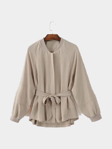 Khaki Embroidery Trench Coat With Self-tie Belt
