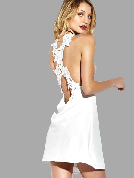 See-through Plunge Cross Back Chiffon Mini Dress with Lined