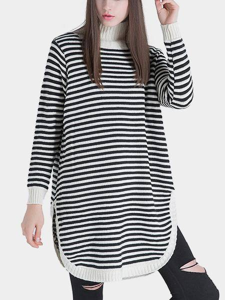 Longline High Neck Striped Sweater with Side Splits