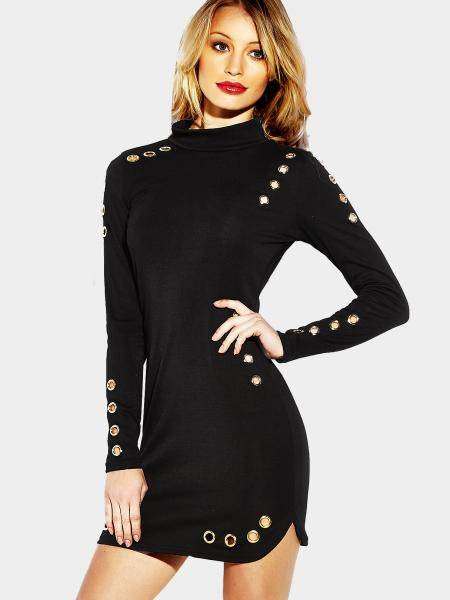 High Neck Long Sleeve Metal Details Bodycon Dress