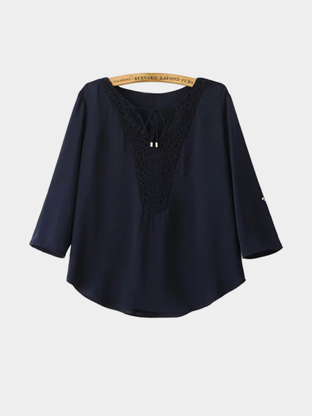 Navy Blouse with Self-Tie