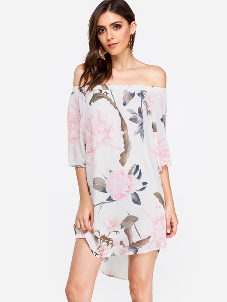 Pink Off Shoulder Random Flowers Print Dress