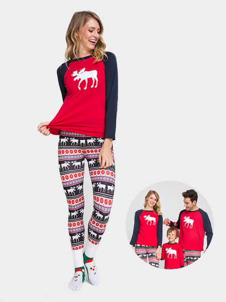 Red Elk Pattern Family Matching Christmas Pajamas Sets - Mom