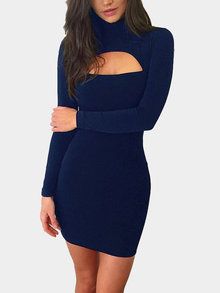 Royal Blue Turtleneck Cutout Chest Bodycon Mini Dress