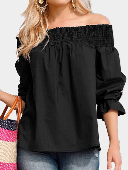 Black Off Shoulder Long Sleeves Self-tie Blouses