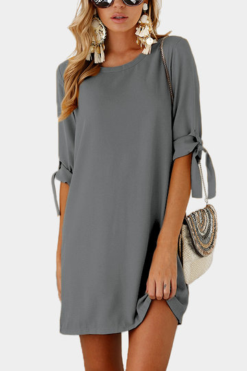 Grey Self-tie at Sleeves Mini Dress