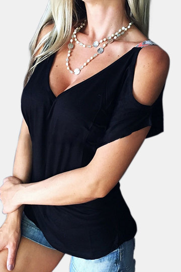Black Low Cut V-neck Cold Shoulder Tee