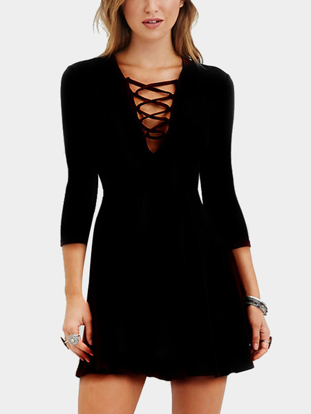 Black Self-tie High-waisted 3/4 Length Sleeves Dress