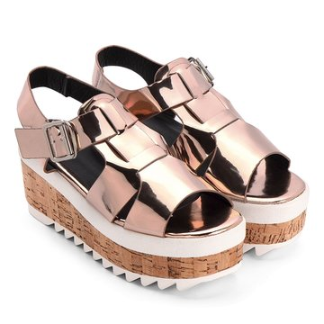 Gold Metallic Ankle Strap High Platform Sandals