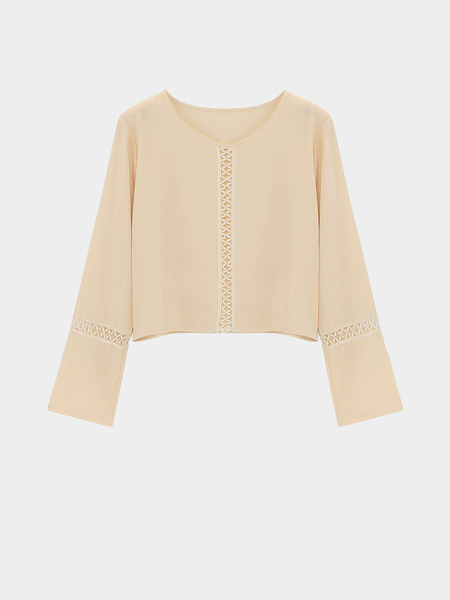 Bell Sleeves Hollow Out Crop Top em Nude