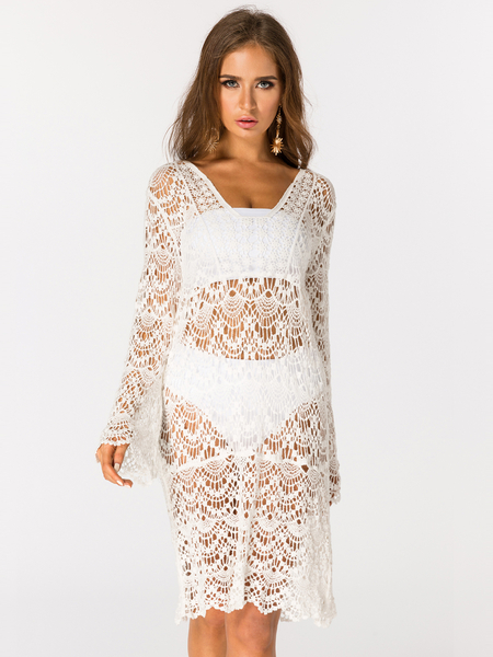 White Lace Details V-neck Long Sleeves Beach Dress