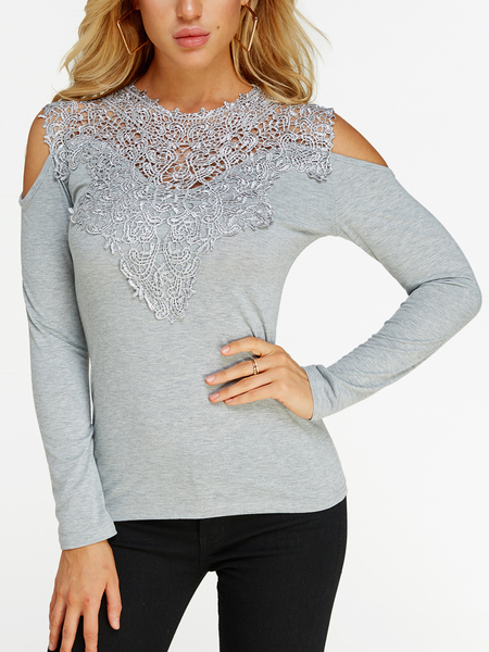 Grey Lace Insert Cold Shoulder Long Sleeves Causal T-shirt