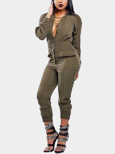 Brown Turndown Collar Elastic Waist Zipper Front Design Jumpsuit