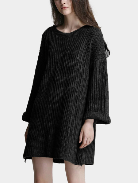 Black Round Neck Loose Long Sleeve Sweater Dress