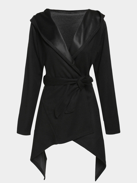 Black Hooded Trench Coat With Tie Waist