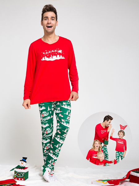 Red Printed Family Matching Christmas Pajamas Sets - Dad