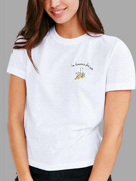 White T-shirt with Banana Print