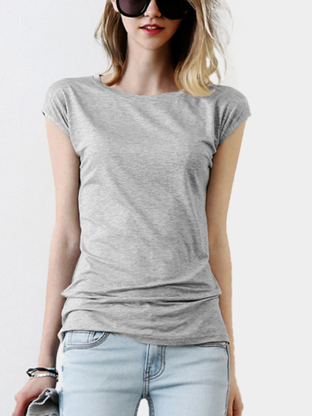 Casual Round Neck Cutout Back Short Sleeves T-shirt In Grey