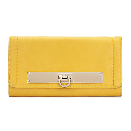 Yellow Leather-look Across Body Clutch Bag with Gold-tone Metal
