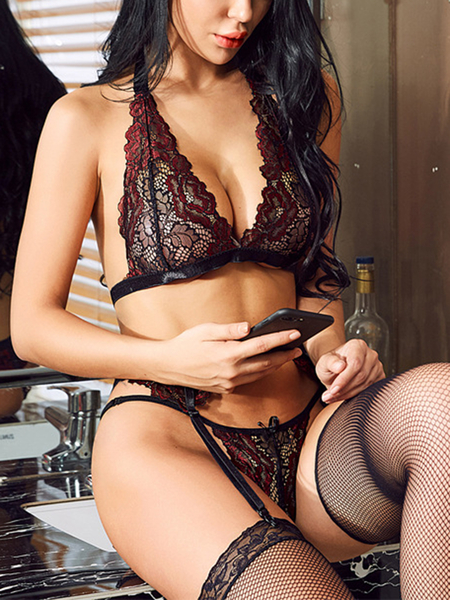 Burgundy V-neck Lace Details Lingerie Set