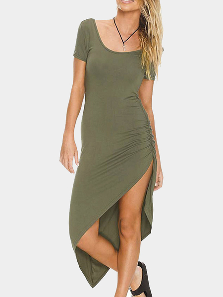 Side Ruched Asymmetric Midi Dress