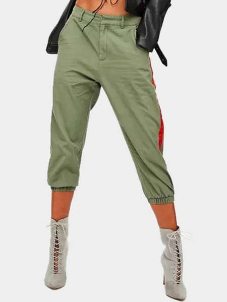 Light Green Cargo Pants With Side Red Stripe Details