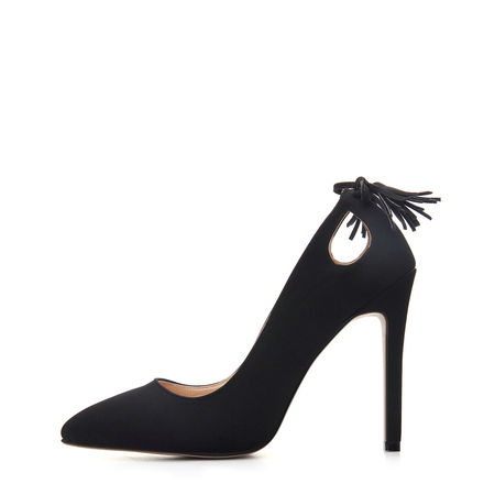 Black Tassel Pointed Toe High Heels