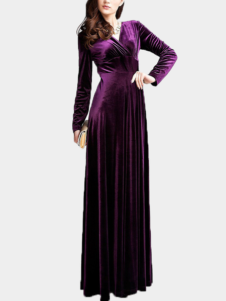 Purple Wrap Front Velvet Maxi Dress
