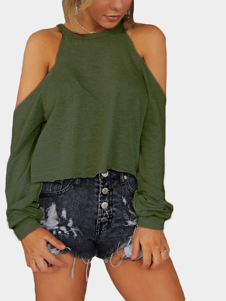 Green Crew Neck Cold Shoulder Long Sleeve Tee