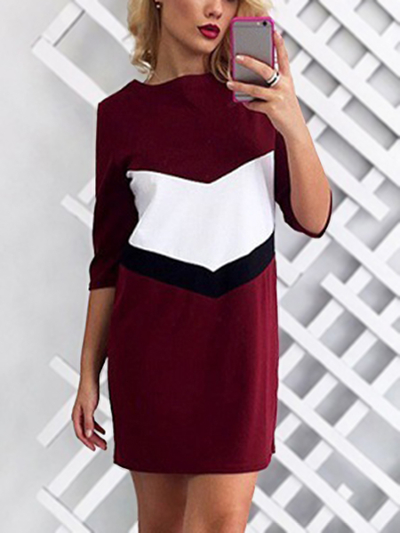 Burgundy Round Neck Half Sleeves Colorblock Shirt Dress