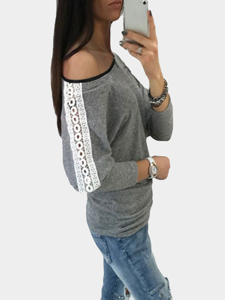 Grey One Shoulder Hollow Lace Design Casual Top