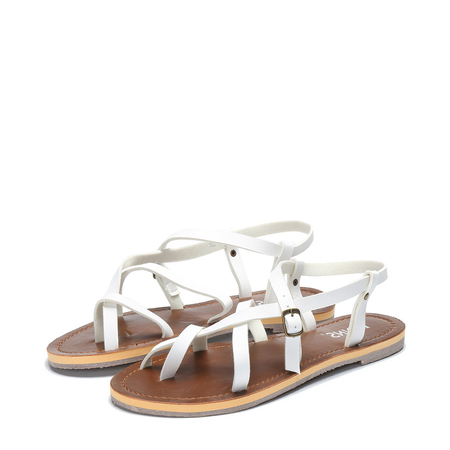 White Crossing Strap Flat Sandals