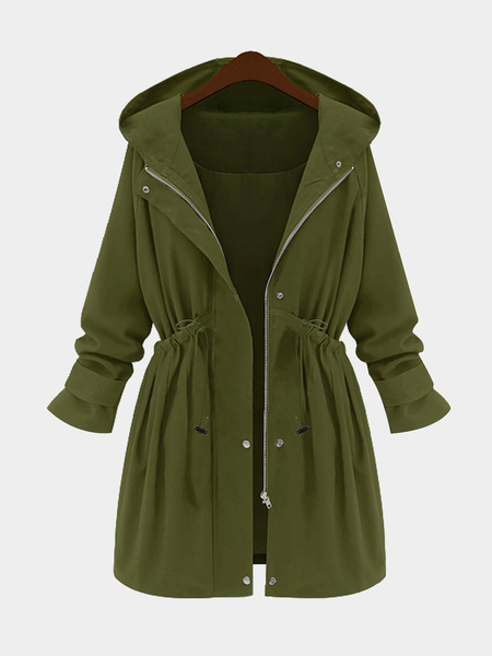 Plus Size Exército Verde Hooded Parka Coat