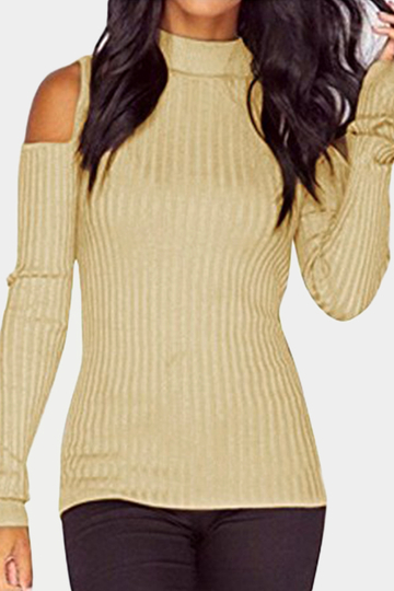 Apricot Open Shoulder Round Neck Bodycon Sweaters