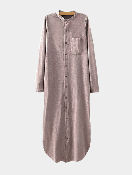 Pink Button Up Side Split Longline Shirt Dress