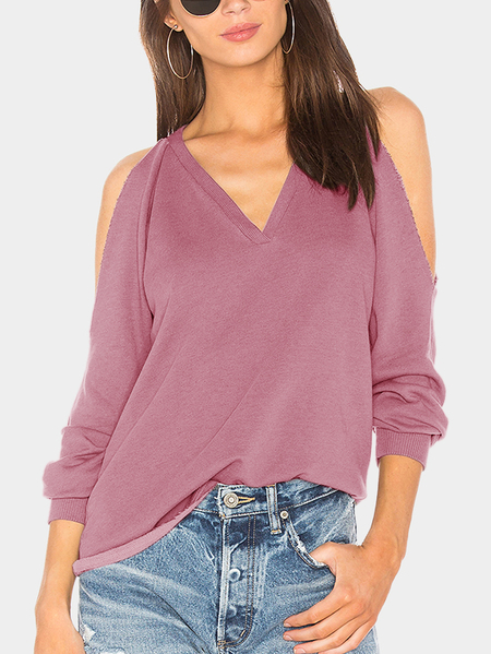 Pink Plain Cold Shoulder Long Sleeves T-shirt