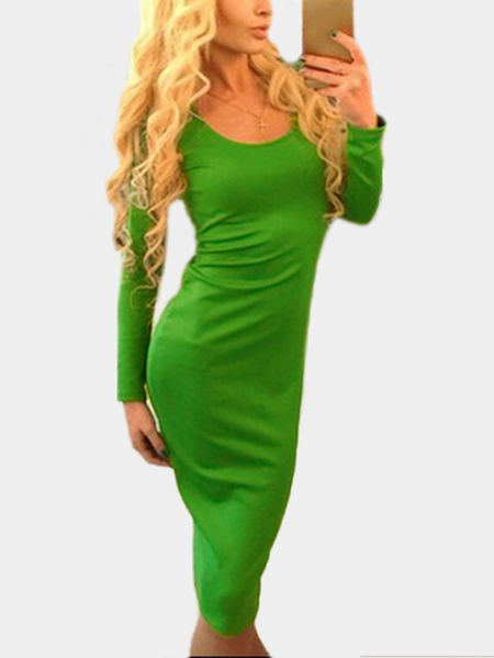 Green Lace-up Design Round Neck Long Sleeves Party Dress