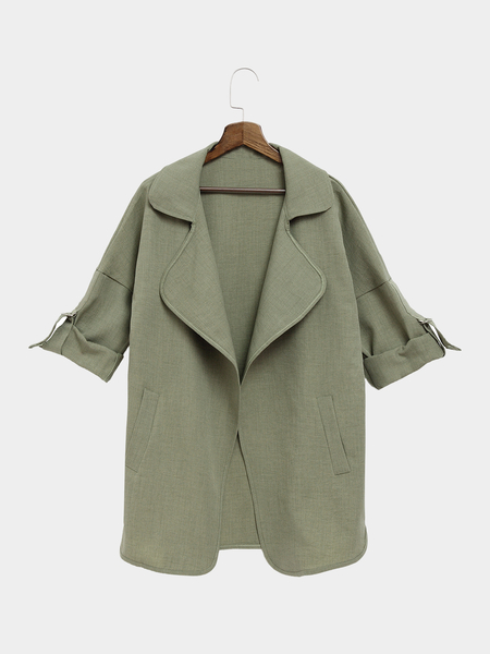 Army Green Trench Coat With Lapel Collar