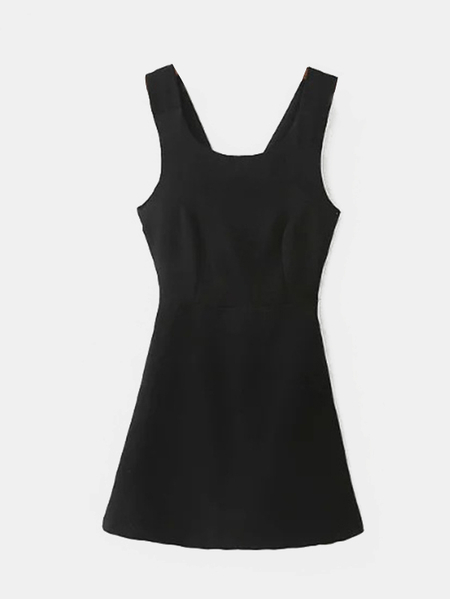 Cross Strap Self-tie Sleeveless Mini Dress in Black