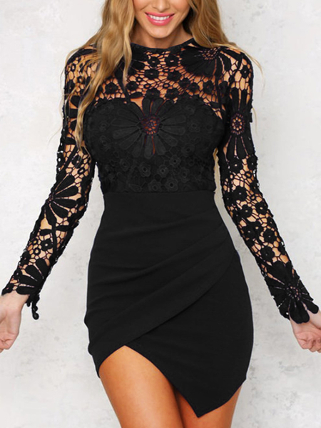 Black Irregular Hem Long Sleeves Mini Dress with Lace Details